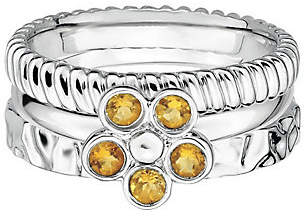 Simply Stacks Sterling Silver Citrine Flower Ring Set