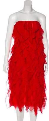Oscar de la Renta 2017 Silk Strapless Knee-Length Dress