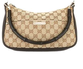 Gucci Brown Leather GG Monogram Canvas Bamboo Bag (Pre Owned)