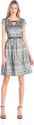 Sangria Women's Cap Sleeve Lace Fit and Flare Dress, Black/Ivory