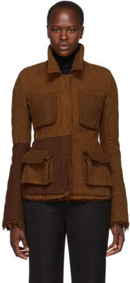 Haider Ackermann Brown Ruffles Officer Jacket
