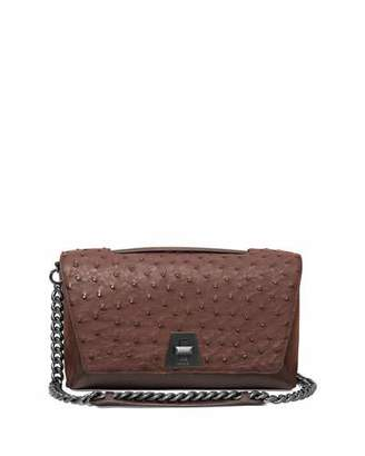 Akris Anouk Day Ostrich & Leather Shoulder Bag, Mocha