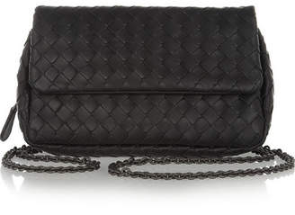 Bottega Veneta Messenger Mini Intrecciato Leather Shoulder Bag - Black
