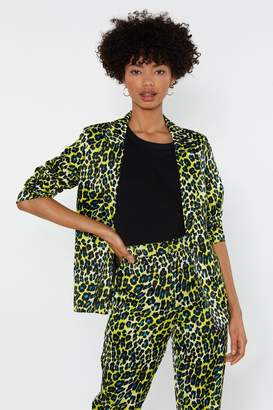 Nasty Gal Womens Prowl Or Never Satin Leopard Blazer - Yellow - M