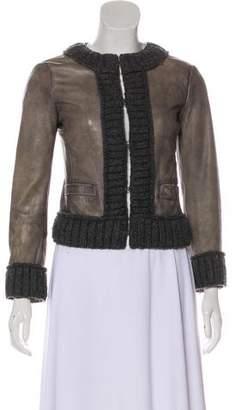 Dolce & Gabbana Knit-Trimmed Leather Jacket
