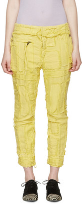 Haider Ackermann Yellow Patchwork Biker Trousers $1,525 thestylecure.com