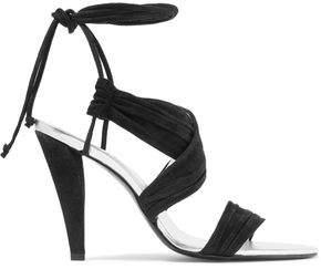 Roger Vivier Lace-Up Ruched Suede Sandals