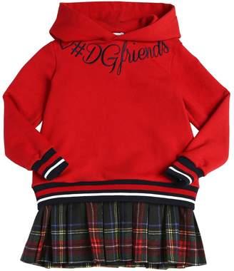 Dolce & Gabbana Hooded Cotton Check & Sweatshirt Dress