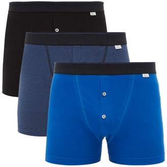 Schiesser Ludwig Pack Of Three Stretch Cotton Boxer Briefs - Mens - Blue Multi