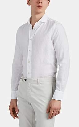 Bolzonella 1934 Men's Slub Linen Snap-Front Shirt - White