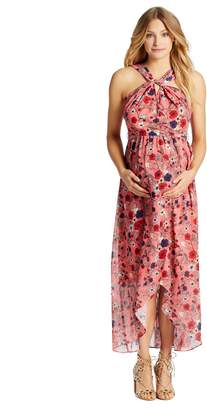 Jessica Simpson Motherhood Maternity Knot Front Maternity Maxi Dress