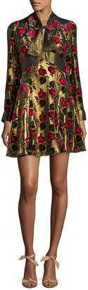 Anna Sui Metallic Floral Mini Dress