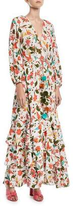 Figue Frederica Paradise Batik-Print Long Wrap Dress
