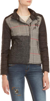 Desigual Asymmetrical Houndstooth Puffer Jacket