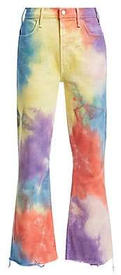 Mother Women's Hustler High-Rise Ankle Crop Fray Rainbow Tie Dye Jeans