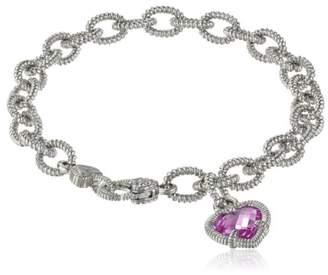 "Judith Ripka Fontaine"" Corundum Single Heart Charm Bracelet"
