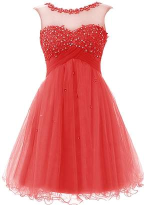 Cdress Tulle Short Junior Homecoming Dresses Applique Sequins Prom Cocktail  Gowns US 9c3fa516b