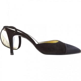 Chanel Slingback Black Suede Heels