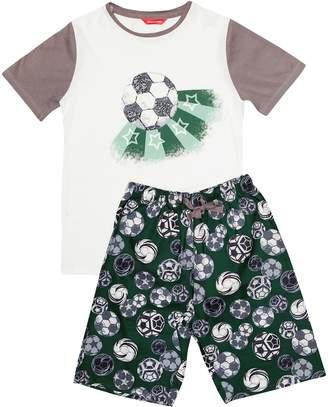 Next Boys Minijammies Cotton Football Print Shorts Pyjama Set