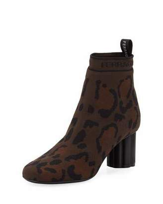 Salvatore Ferragamo Leopard Printed Stretch-Knit Ankle Booties