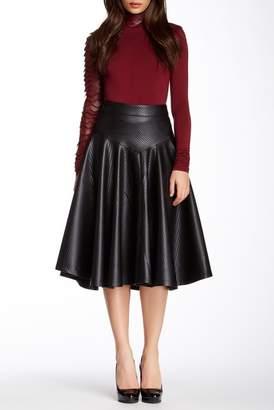 Gracia Flared Faux Leather Midi Skirt