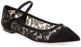 Dolce & Gabbana Suede & Lace Ankle Flat
