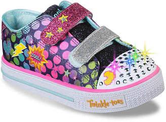Skechers Twinkle Toes Shuffles Dotted Dancer Toddler Light-Up Sneaker - Girl's