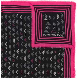 Emporio Armani (エンポリオ アルマーニ) - Emporio Armani logo contrast scarf