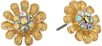 Betsey Johnson Blue by Yellow and Gold Tone Flower Stud Earrings Earring