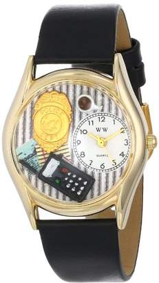 Whimsical Watches Women's C0620013 Classic Police Officer Black Leather And tone Watch