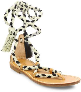 Soludos Women's Cotton Lace-Up Flat Sandals