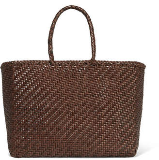Dragon Optical Diffusion Basket Woven Leather Tote - Dark brown
