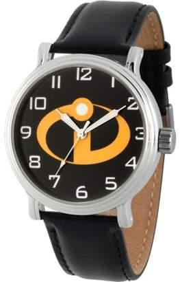 Disney Incredibles Men's Silver Vintage Alloy Watch, Black Leather Strap