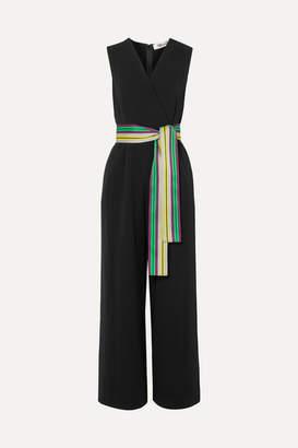 Diane von Furstenberg Wrap-effect Belted Crepe Jumpsuit - Black