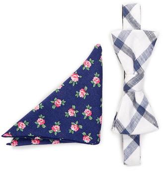 Original Penguin Merrick Grid Bow Tie & Pocket Square Set $65 thestylecure.com