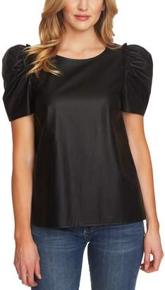 CeCe Puff Sleeve Faux Leather Top