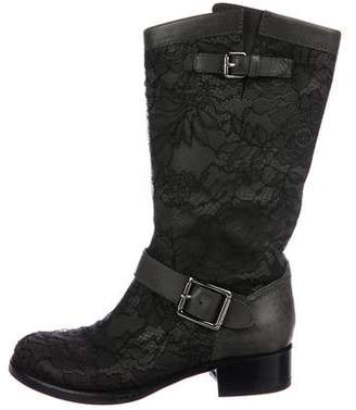 Valentino Floral Lace Rounded-Toe Mid-Calf Boots
