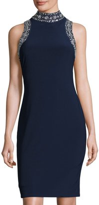 Marina Bead-Embellished High-Neck Sheath Dress, Navy $149 thestylecure.com