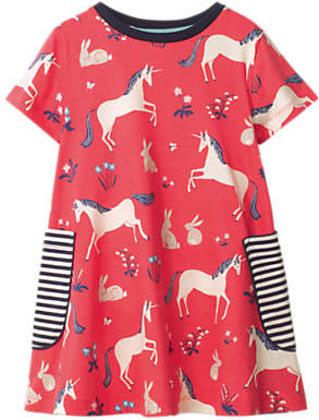 Boden Mini Girls' Colourful Unicorn Print Tunic Dress, Pink