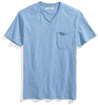 Goodthreads Men's V-Neck Lightweight Striped Slub Pocket T-Shirt