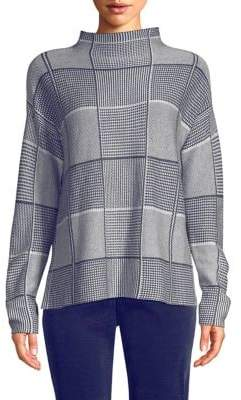 Eileen Fisher Funnelneck Plaid Sweater