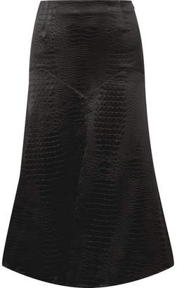 Sonia Rykiel Croc-effect Satin Midi Skirt - Black