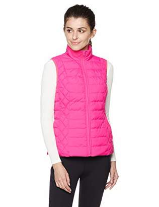 Otterline Women's Nylon Taffeta Regular-fit Full Front Zip LTWT Polyfill Vest Pink M