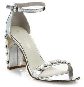Stuart Weitzman Morepearls Studded Metallic Ankle Strap Sandals