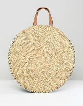 South Beach Round Straw Tote Bag