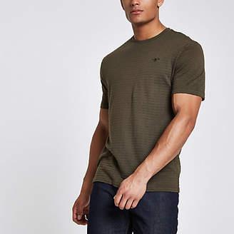 River Island Khaki waffle slim fit short sleeve T-shirt