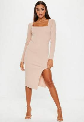 Missguided Camel Bandage Square Neck Midi Dress