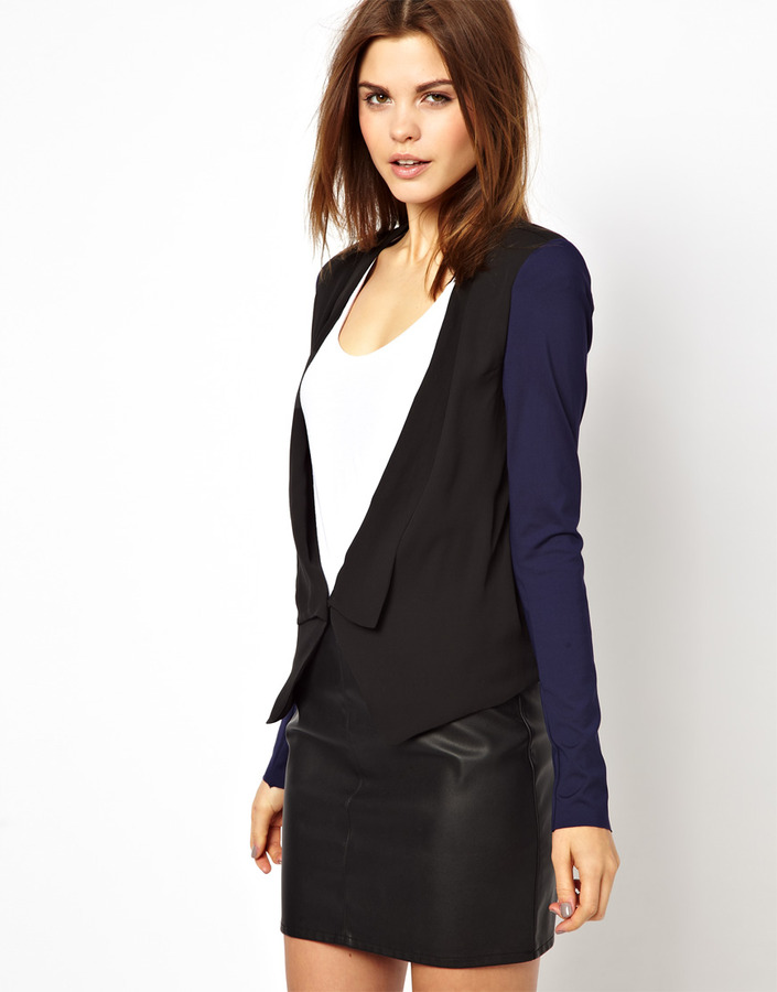 Y.A.S Fia Blazer with Jersey Contrast Sleeves