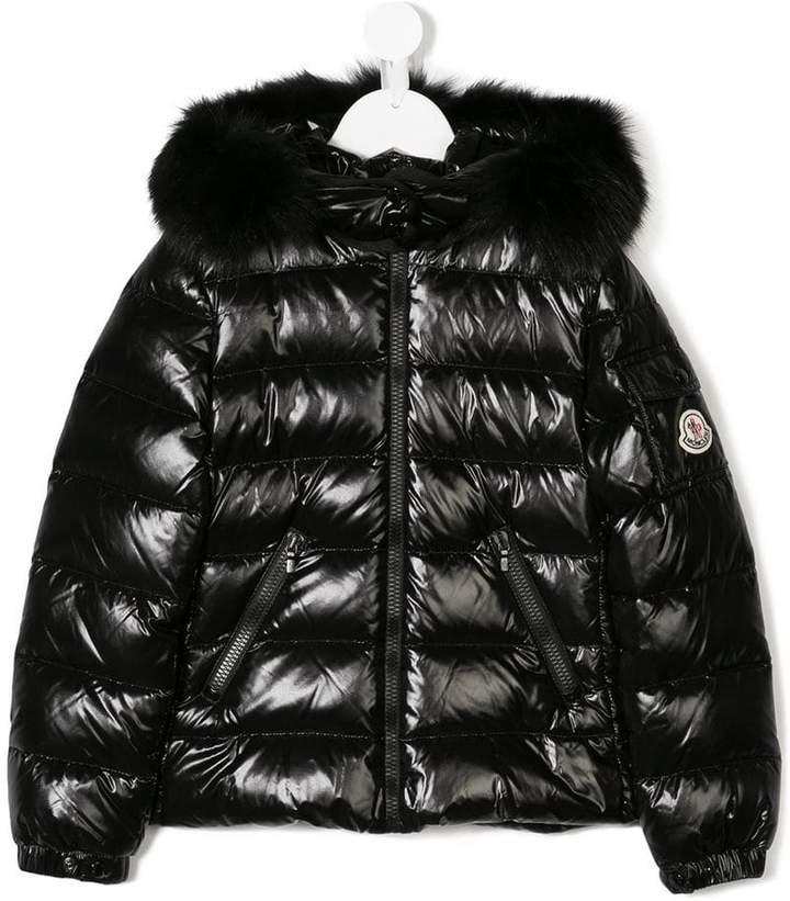 Moncler Kids varnished hooded down jacket