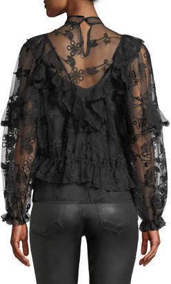 Haute Rogue Alisa Embroidered-Lace Cropped Blouse